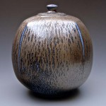 Salt glaze porcelain lidded jar. National Gallery of Australia Collection.