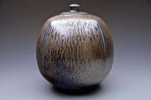 Salt glaze porcelain lidded jar