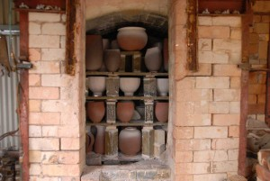 The salt glaze kiln packed for firing